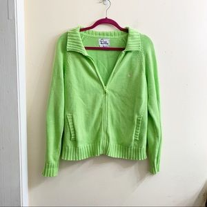 Lilly Pulitzer green zip up knit jacket size M
